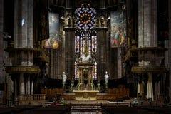 米兰大教堂的内部 库存图片