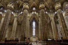 米兰大教堂的内部 库存照片