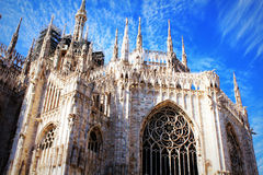 米兰大教堂,中央寺院二米兰,其中一个最大的教会在世界上 库存照片