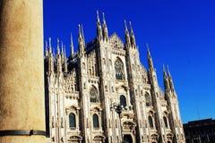 米兰大教堂,中央寺院二米兰,其中一个最大的教会在世界上 免版税图库摄影