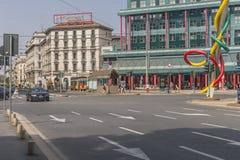 米兰市中心街道视图 免版税库存图片