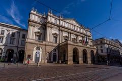 米兰市wiews La Scala剧院 免版税库存图片