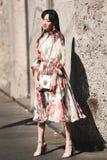 米兰时尚星期-街道样式 免版税库存图片