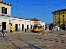 米兰电车porta赫诺瓦 免版税图库摄影