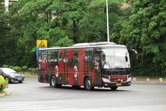 米兰足球俱乐部足球队员公共汽车 免版税库存照片