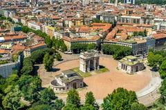 米兰都市风景,意大利 免版税库存图片
