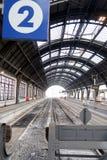 米兰,中央驻地 12/22/2016 没有火车的轨道2 免版税库存照片