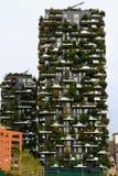 米兰,意大利,摩天大楼垂直的森林视图 图库摄影