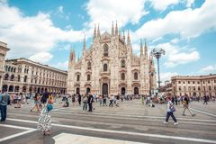 米兰,意大利- 25 06 2018年:米兰大教堂是大教堂chur 库存照片