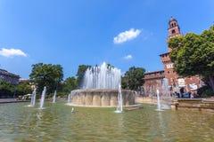 米兰,意大利- 25 06 2018年:Sforza城堡- Castello的Sforzesco 免版税图库摄影
