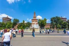 米兰,意大利- 25 06 2018年:Sforza城堡- Castello的Sforzesco 库存图片