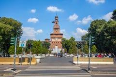 米兰,意大利- 25 06 2018年:Sforza城堡- Castello的Sforzesco 库存照片