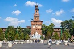 米兰,意大利- 25 06 2018年:Sforza城堡- Castello的Sforzesco 免版税库存图片