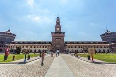 米兰,意大利- 25 06 2018年:Sforza城堡Castello Sforzesco是 库存照片