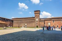 米兰,意大利- 25 06 2018年:Sforza城堡Castello Sforzesco是 免版税库存图片