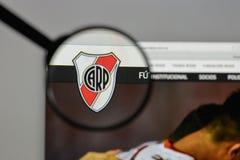 米兰,意大利- 2017年8月10日:俱乐部Atletico河床队商标o 库存照片
