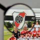 米兰,意大利- 2017年8月10日:俱乐部Atletico河床队商标o 免版税图库摄影