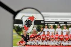 米兰,意大利- 2017年8月10日:俱乐部Atletico河床队商标o 图库摄影
