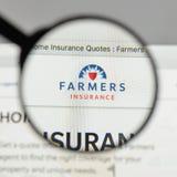 米兰,意大利- 2017年8月10日:农夫保险交换商标 免版税库存照片
