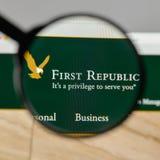 米兰,意大利- 2017年8月10日:在的第一个共和国银行商标 免版税库存照片