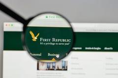 米兰,意大利- 2017年8月10日:在的第一个共和国银行商标 免版税库存图片