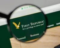 米兰,意大利- 2017年8月10日:在的第一个共和国银行商标 库存图片