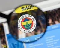 米兰,意大利- 2017年8月10日:在的Fenerbahce伊斯坦布尔商标 免版税库存图片