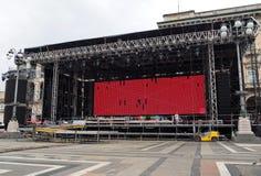 米兰,意大利- 2018年6月12日:在米兰构造准备好在`广场中央寺院`的一个音乐会 库存照片