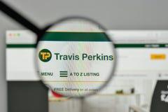 米兰,意大利- 2017年11月1日:在网的特拉维斯珀金斯商标 库存图片