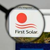 米兰,意大利- 2017年8月10日:在网站上的第一个太阳商标 免版税库存图片