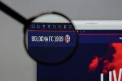 米兰,意大利- 2017年8月10日:在网站h上的波隆纳FC商标 免版税库存照片