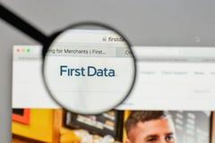 米兰,意大利- 2017年8月10日:在网站h上的第一个数据商标 图库摄影