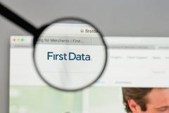 米兰,意大利- 2017年8月10日:在网站h上的第一个数据商标 库存图片