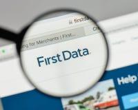 米兰,意大利- 2017年8月10日:在网站h上的第一个数据商标 库存照片