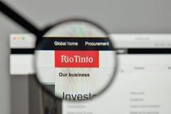 米兰,意大利- 2017年11月1日:在网站h上的里约Tinto商标 免版税库存图片