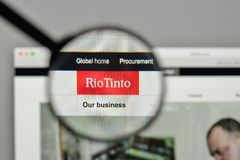 米兰,意大利- 2017年11月1日:在网站h上的里约Tinto商标 库存图片