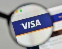 米兰,意大利- 2017年11月1日:在网站homepa的签证商标 库存照片
