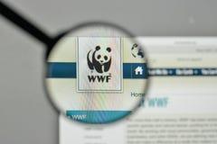 米兰,意大利- 2017年11月1日:在网站homepag的wwf商标 免版税库存照片
