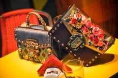 米兰,意大利- 2017年9月24日:在DNG s的Dolce Gabbana袋子 免版税图库摄影