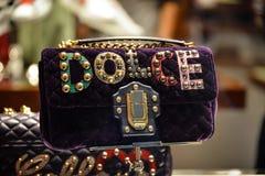 米兰,意大利- 2017年9月24日:在DNG s的Dolce Gabbana袋子 库存图片