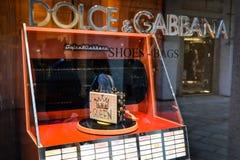 米兰,意大利- 2017年9月24日:在DNG s的Dolce Gabbana袋子 免版税库存照片