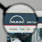 米兰,意大利- 2017年11月1日:在t的MAN Truck Bus Company商标 免版税库存照片