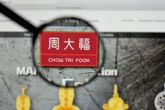 米兰,意大利- 2017年8月10日:在websit的周Tai Fook商标 免版税库存图片