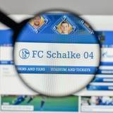 米兰,意大利- 2017年8月10日:在websit的FC Schalke 04商标 免版税图库摄影