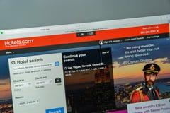 米兰,意大利- 2017年8月10日:旅馆 com网站主页 它 免版税图库摄影