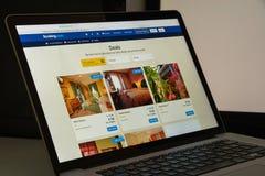 米兰,意大利- 2017年8月10日:预定 com网站主页 它 免版税图库摄影