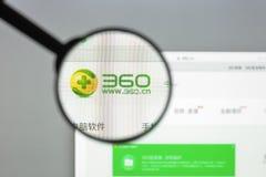 米兰,意大利- 2017年8月10日:360个网站主页 360商标v 免版税库存照片