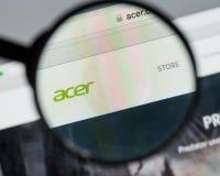 米兰,意大利- 2017年8月10日:Acer网站 它是台湾人 图库摄影