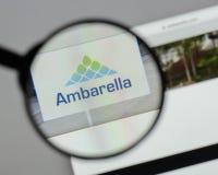 米兰,意大利- 2017年8月10日:Ambarella网站 它是devel 免版税图库摄影