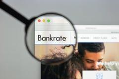 米兰,意大利- 2017年8月10日:Bankrate网站主页 它是 免版税库存图片